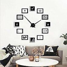 Wmshpeds Freiheit DIY, kreative 3D-Massivholz Foto Wand, Wohnzimmer Wanduhr Dekoration Bilderrahmen Wand Kombination, groß: 120 × 120cm