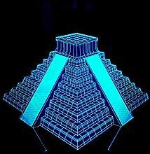 Wmshpeds Ladder Gebäude 3D-Nachtlicht Bunte Noten-Fernsicht Licht-Pyramide Geschenk Atmosphäre 3D-Schreibtisch-LED