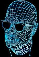 Wmshpeds Männer mit Brille 3D-bunten Touch-LED sichtbaren Licht Geschenk Atmosphäre Lampe leuchte