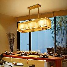 Wmshpeds Neuer chinesisches Tuch schmiedeeiserne Kronleuchter Lampe Wohnzimmer Schlafzimmer der kreativen positive rechteckige Kronleuchter Speisesaal