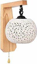 WngLei Moderne Holz Wandlampe mit Pull-in kreative