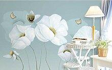 Wnyun 3D-Wandtapete mit weißen Blumen,