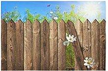 WOCNEMP Wandteppich Holzzaun über den Hof mit
