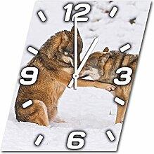 Wölfe, Design Wanduhr aus Alu Dibond zum Aufhängen, 30 cm Durchmesser, schmale Zeiger, schöne und moderne Wand Dekoration, mit qualitativem Quartz Uhrwerk