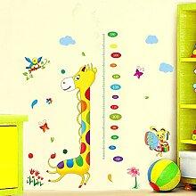 Wofly Dekorative Sticker Entfernen Dekorative Cartoon Giraffe Höhe Aufkleber Für Kinder