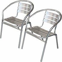 Wohaga® 2 Stück Bistrostuhl Stapelstuhl Gartenstuhl Balkonstuhl Terrassenstuhl Balkonmöbel Terrassenmöbel Aluminium / Silber