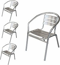 Wohaga® 4 Stück Bistrostuhl Stapelstuhl Gartenstuhl Balkonstuhl Terrassenstuhl Balkonmöbel Terrassenmöbel Aluminium / Silber