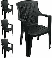 Wohaga 4er Set Gartenstühle im Rattan Look