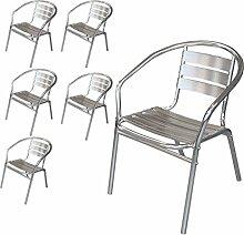 Wohaga® 6 Stück Bistrostuhl Stapelstuhl Gartenstuhl Balkonstuhl Terrassenstuhl Balkonmöbel Terrassenmöbel Aluminium / Silber