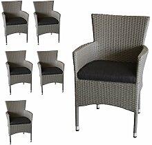 Wohaga 6X Polyrattan Sessel stapelbar Rattansessel