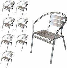 Wohaga® 8 Stück Bistrostuhl Stapelstuhl Gartenstuhl Balkonstuhl Terrassenstuhl Balkonmöbel Terrassenmöbel Aluminium / Silber