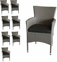 Wohaga 8X Polyrattan Sessel stapelbar Rattansessel