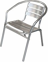 Wohaga® Bistrostuhl Stapelstuhl Gartenstuhl Balkonstuhl Terrassenstuhl Balkonmöbel Terrassenmöbel Aluminium / Silber