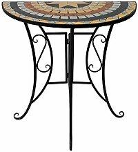 Wohaga® Mosaik Gartentisch halbrund 70x35cm