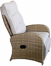 Wohaga® Polyrattan Sessel Gartensessel Natur mit Fußteil und Auflage Rattansessel Relaxsessel Loungesessel Fernsehsessel Lehne stufenlos verstellbar Rattanmöbel Gartenmöbel