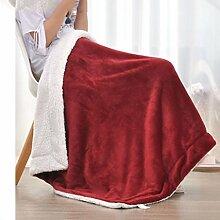 Wohn- & Kuscheldecken Kleine Decke Büro Nickerchen Decke einzigen Kind kleine Decke Quilt warme Doppelschicht Winter Korallen Wolldecke A+ ( Farbe : Weinrot , größe : 100*150cm )
