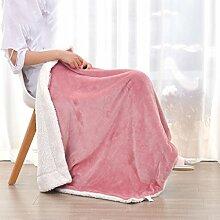Wohn- & Kuscheldecken Kleine Decke Büro Nickerchen Decke einzigen Kind kleine Decke Quilt warme Doppelschicht Winter Korallen Wolldecke A+ ( Farbe : Bean powder , größe : 100*150cm )