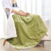 Wohn- & Kuscheldecken Kleine Decke Büro Nickerchen Decke einzigen Kind kleine Decke Quilt warme Doppelschicht Winter Korallen Wolldecke A+ ( Farbe : Green tea green , größe : 180*200cm )