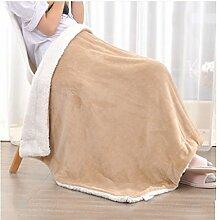 Wohn- & Kuscheldecken Kleine Decke Büro Nickerchen Decke einzigen Kind kleine Decke Quilt warme Doppelschicht Winter Korallen Wolldecke A+ ( Farbe : Khaki , größe : 100*150cm )