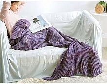 Wohn- & Kuscheldecken Meerjungfrau Schwanz Decke Decke Einzel Erwachsene Winter Erwachsene Kind Sofa Decke Klimaanlage Decke Gestrickte Wolldecke A+ ( Farbe : Lila , größe : 70*140cm )