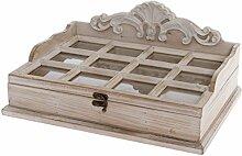 WOHNANDO Holzbox mit 12 Schmuckfächern -