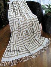 Wohndecke Kuscheldecke Wolldecke sehr weiches Plaid 140 x 200 cm Labirinto (Beige)