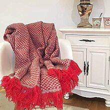 Wohndecke Plaid BEA rot-grau kariert 130x170 cm