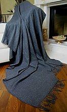Wohndecke Wolldecke 130x185cm Decke Kuscheldecke Tagesdecke Sehr weiches Plaid Rio (Dunkelgrau)