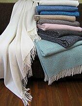 Wohndecke Wolldecke 140 x 200 cm Tagesdecke Kuscheldecke sehr weiches Plaid Garda Weiß