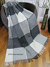 Wohndecke Wolldecke 140x200cm Kuscheldecke Plaid Decke 65% Wolle (Grau-Weiß)