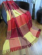 Wohndecke Wolldecke 140x200cm Kuscheldecke Plaid Decke 65% Wolle (Rot-Bordeauxrot-Gelb)