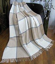 Wohndecke Wolldecke 140x200cm Kuscheldecke Plaid Decke 65% Wolle (Beige-Grau-Weiß)