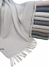 Wohndecke Wolldecke Decke Kuscheldecke sehr weiches Plaid Roma (130 x 170 cm, Hellbeige-Weiß)