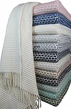 Wohndecke Wolldecke Decke Kuscheldecke sehr weiches Plaid Roma (200 x 220 cm, Creme-Weiß)