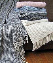 Wohndecke Wolldecke Decke Kuscheldecke sehr weiches Plaid Roma (140 x 200 cm, Dunkelgrau-Weiß)