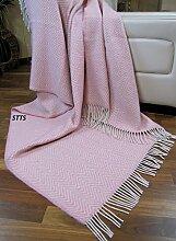 Wohndecke Wolldecke Decke Plaid Kuscheldecke 140 x 200 cm Wolle Milano (Rosa-Weiß)
