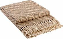 Wohndecke Wolldecke Decke Plaid Kuscheldecke 140x200cm 80% Wolle Milano (Beige-Weiß)