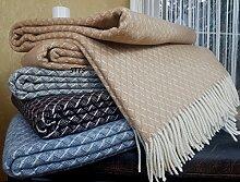 Wohndecke Wolldecke Plaid Decke 140 x 200cm Wolle Monaco Beige-Weiß