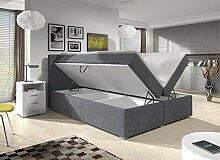 Wohnen-Luxus Boxspringbett 180x200 Bettkasten Grau