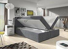 Wohnen-Luxus Boxspringbett 180x200 Grau Stoff mit
