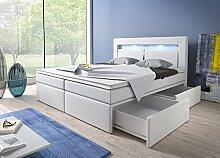 Wohnen-Luxus Boxspringbett 180x200 Weiß mit