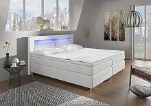 Wohnen-Luxus Boxspringbett 180x200 Weiß mit LED