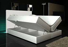 Wohnen-Luxus Boxspringbett Weiß Lift 180x200