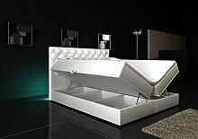 Wohnen-Luxus Boxspringbett Weiß Panama Lift