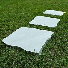 WOHNFREUDEN 3er Trittsteine 30 cm Trittplatten aus Stein Sandstein Garten Rasen