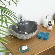 wohnfreuden 40 cm Naturstein Waschbecken mit