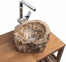 wohnfreuden Holz-Waschbecken fossiles