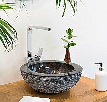 wohnfreuden Marmor Aufsatz-Waschbecken BB5 40 cm