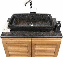 Wohnfreuden Marmor Aufsatz-Waschbecken Waschtisch Naturstein eckig 70 x40 cm schwarz Stein Handwaschbecken