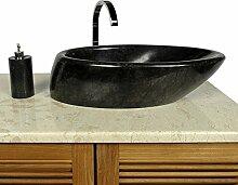 WOHNFREUDEN Marmor Natur-Stein-Waschbecken Net Tropfen 60 cm schwarz Gäste WC